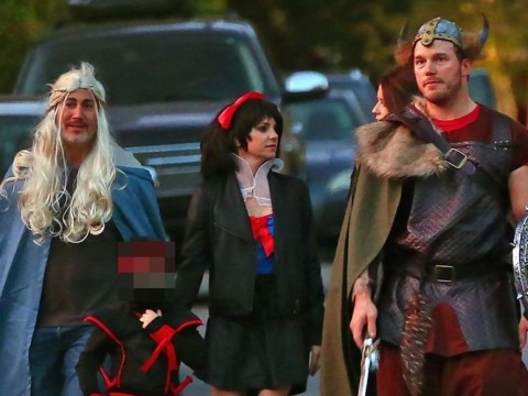 Chris Pratt and Anna Faris school us on modern parenting as they take new partners trick or treating with son Jack