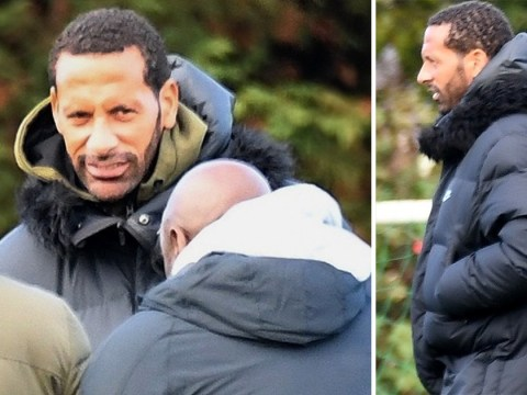 Rio Ferdinand gets back to football-dad duty after proposing to Kate Wright