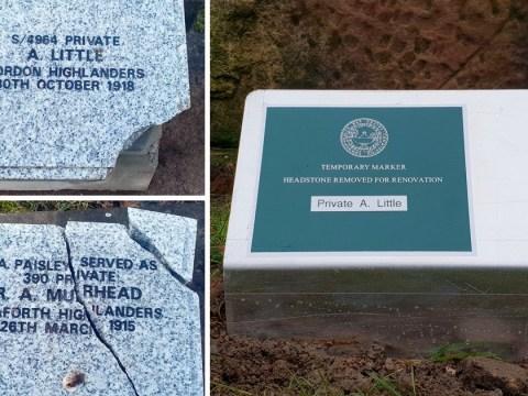 Mindless criminals vandalise war graves just days before First World War centenary