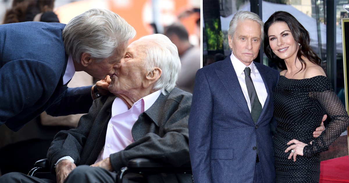 Michael Douglas gives dad Kirk a sweet kiss as Catherine Zeta Jones attends Hollywood Walk of Fame