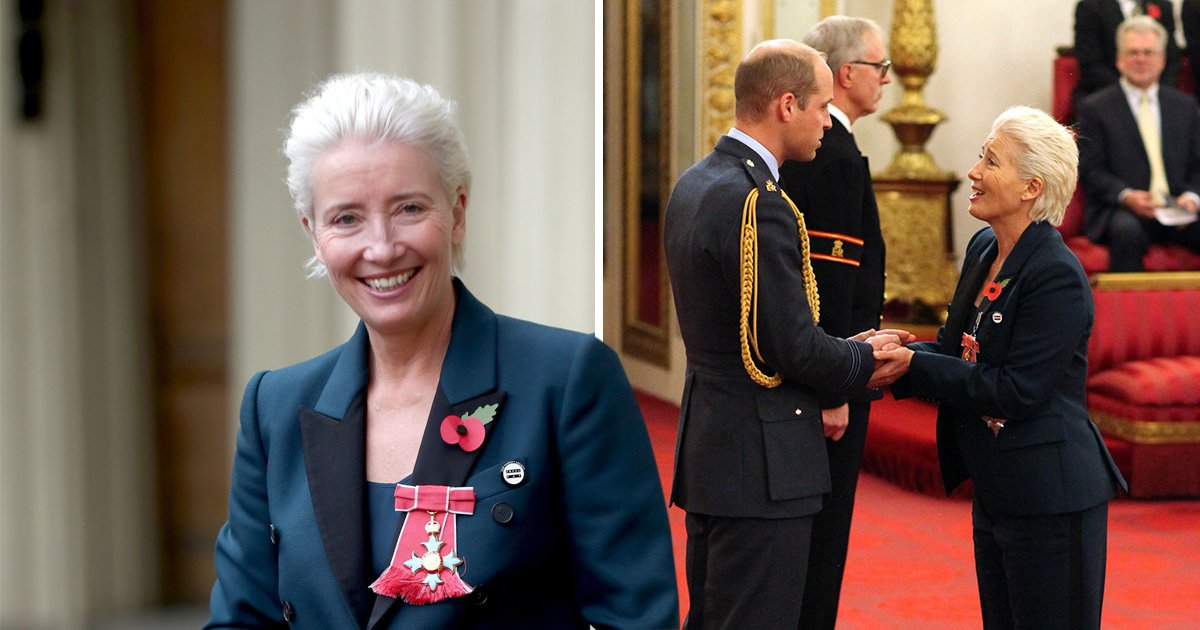 Emma Thompson makes a statement with equal pay badge during Damehood ceremony at Buckingham Palace