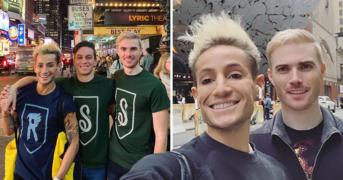 Frankie Grande and his two boyfriends look magical hitting up Broadway