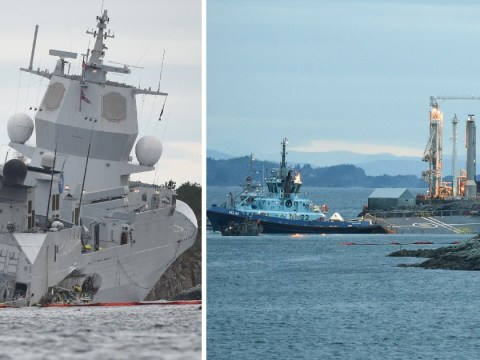 Navy frigate on verge of sinking after crash with oil tanker