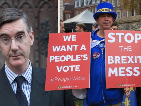Jacob Rees-Mogg is upstaged and drowned out by the Stop Brexit man