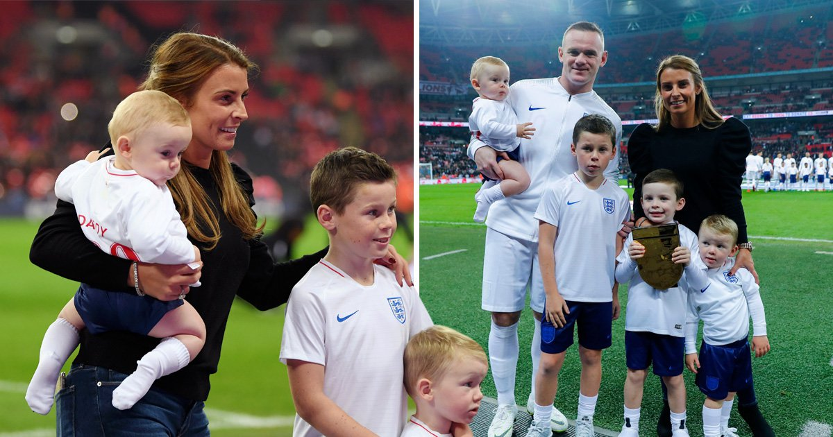 Coleen Rooney supports Wayne as she brings entire brood to his Wembley send-off