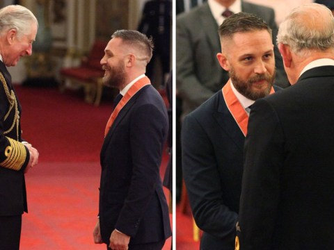 These pictures of Tom Hardy being awarded a CBE are all you need to see today