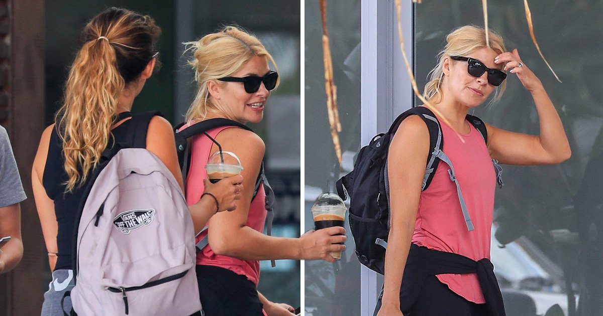 Holly Willoughby relaxes with friends ahead of tonight's I'm a Celebrity launch