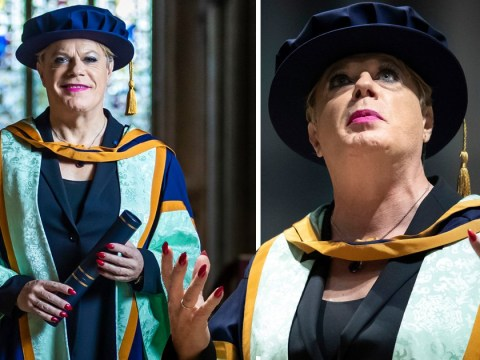 Eddie Izzard is all smiles at swanky graduation as he's awarded honorary degree