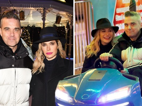 Robbie Williams and Ayda Field put X Factor rivalry aside for Winter Wonderland date night