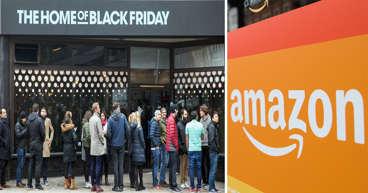 Shoppers queue outside pop-up Amazon store as Black Friday kicks off early