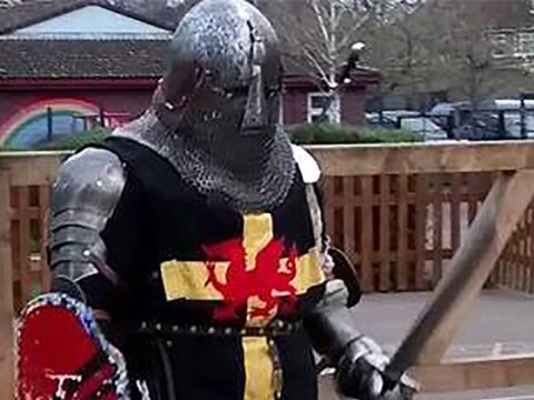 Knight pulled out his 3ft sword to frighten off gang threatening his dad