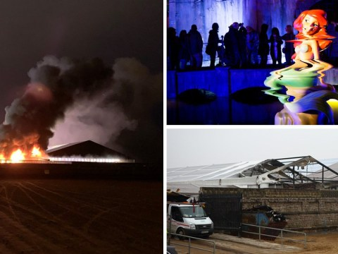 Former site of Banksy's Dismaland goes up in flames