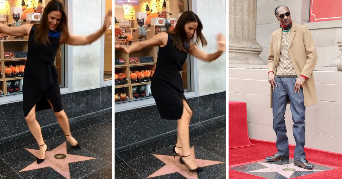 Jennifer Garner is too cute as she copies Snoop Dogg's dance on Hollywood Walk of Fame