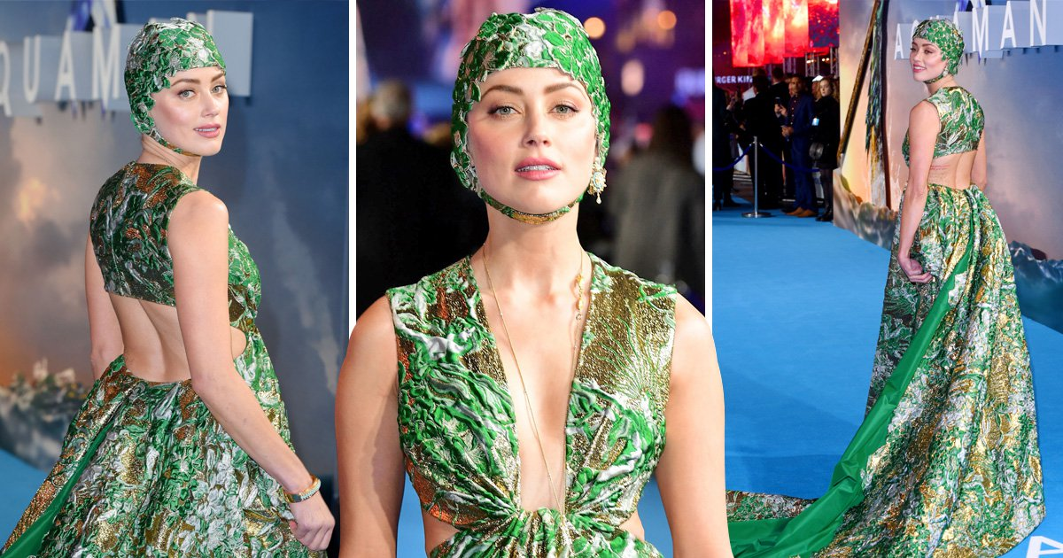 Amber Heard rocks up to Aquaman premiere in a swimming cap and we have a lot of questions