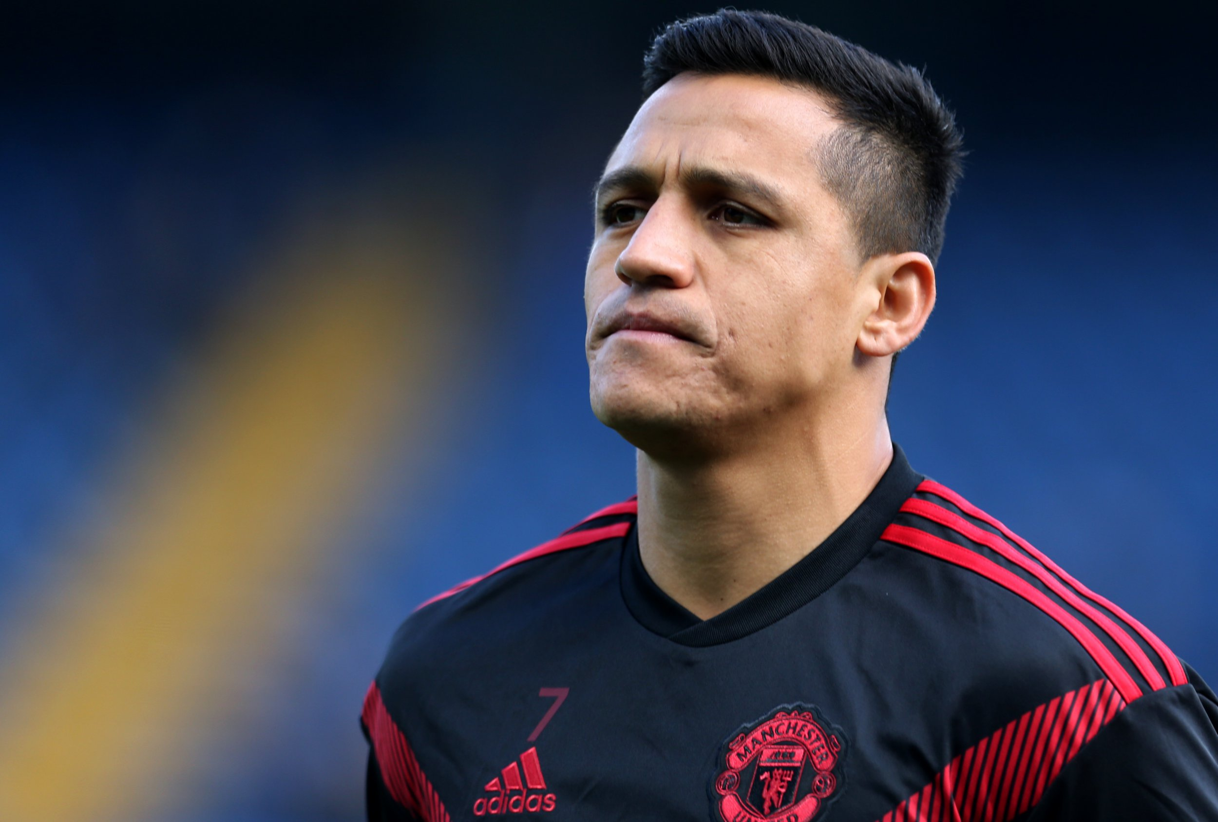 Manchester United's Alexis Sanchez during the pre-match warm up