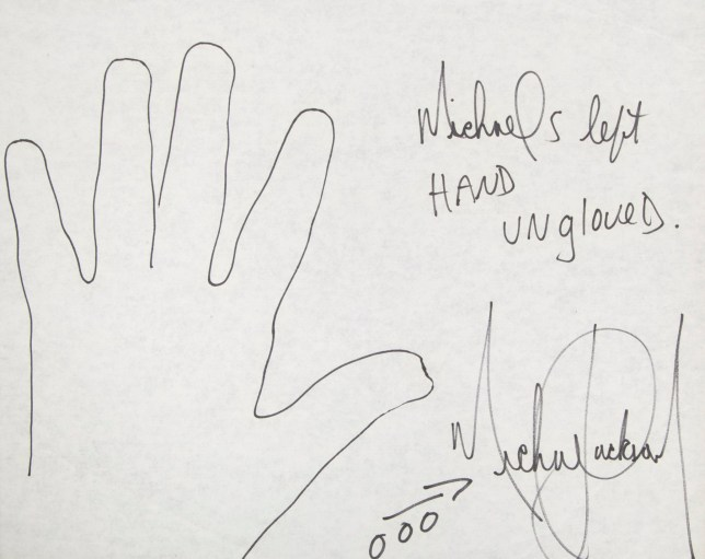 An incredible collection of drawings by Michael Jackson, including a self portrait, are set to hit the auction block. The stunning pictures where penned by Jackson during the 80s and include two self portraits along with an outlined drawing of his hand. The collection also includes a drawing of Michael alongside his sisters Janet, Rebbie and Latoya. Each picture is expected to sell for $8,000. The images are currently owned by of Dr. Steven M. Hoefflin, Jackson s close friend and art collaborator. They are due to be sold by Julien's Auctions on November 9. Other Michael Jackson items up for auction include a pair of his signed shoes, which are expected to sell for $6,000 and a hand written poem, which is expected to sell for $6,000. 22 Oct 2018 Pictured: Outline of Michael Jackson's hand. Photo credit: MEGA / Julien's Auction / MEGA TheMegaAgency.com +1 888 505 6342