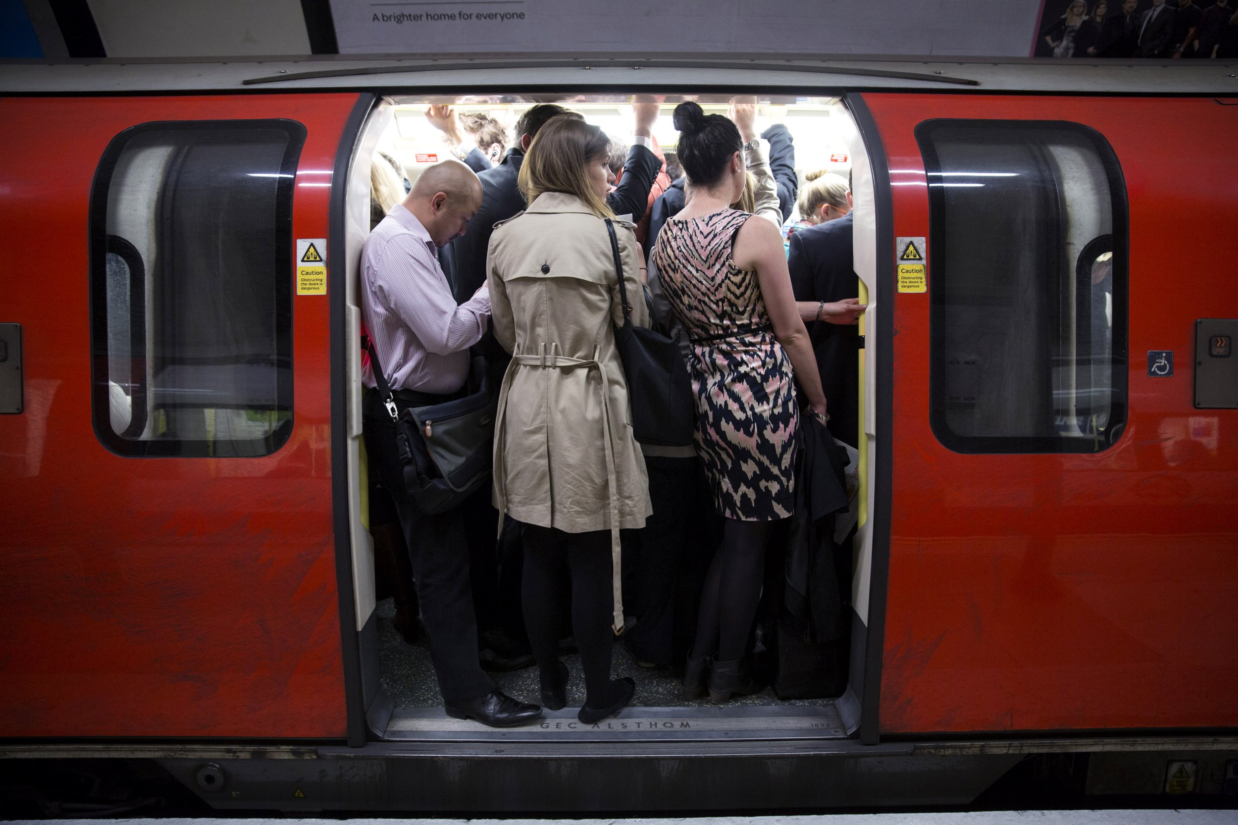 LONDON, ENGLAND - APRIL 29: Commuters travel on the Northern Line of the London Underground which is running a limited service due to industrial action on April 29, 2014 in London, England. At 9pm last night members of the Rail, Maritime and Transport (RMT) Union commenced a 48 hour strike on the London Underground over plans to close all ticket offices with the loss of nearly 1000 jobs. (Photo by Oli Scarff/Getty Images)