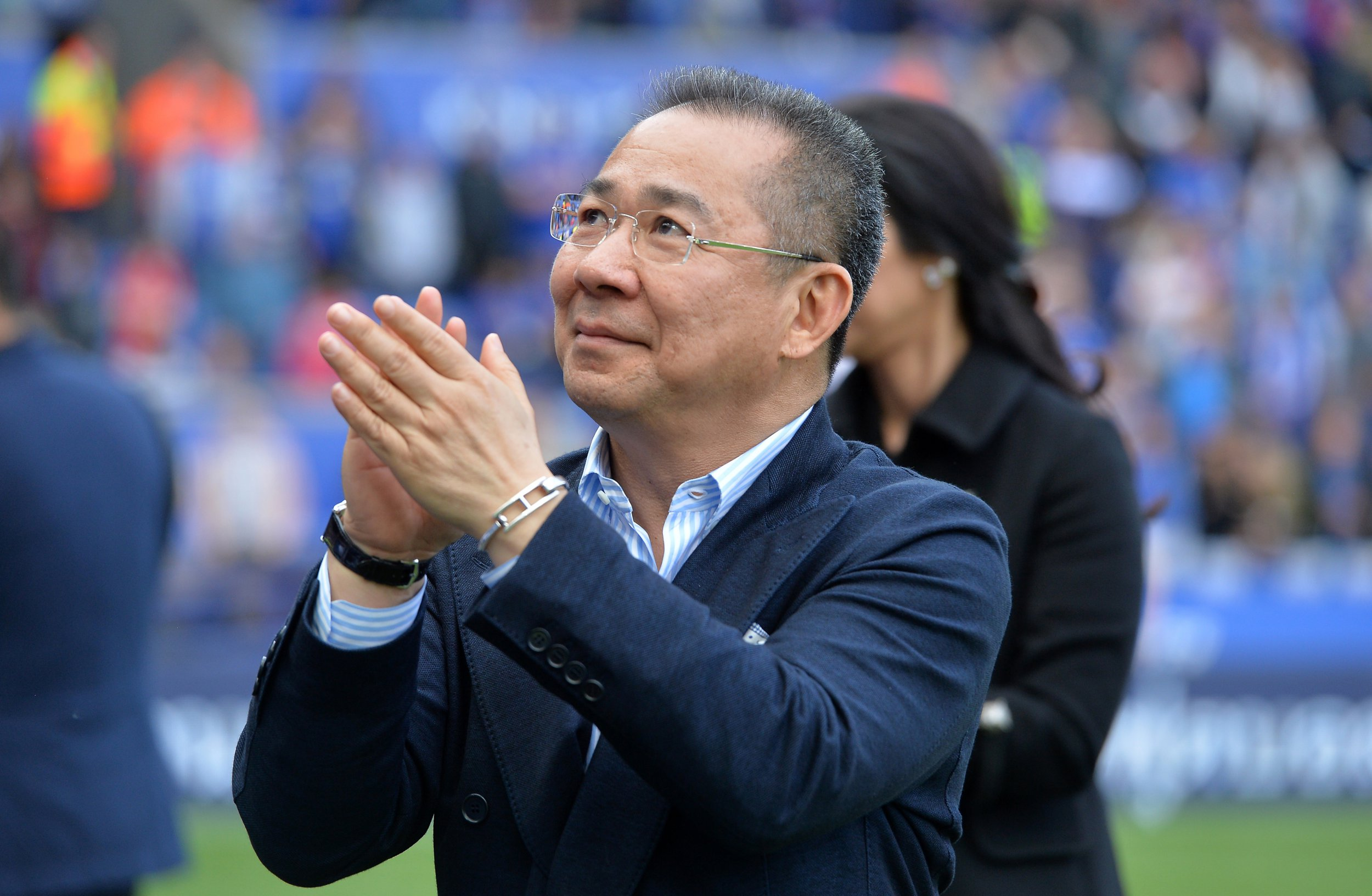 LEICESTER, ENGLAND - MAY 21: Chairman Vichai Srivaddhanaprabha of Leicester City applauds the fans during a lap of the pitch after the Premier League match between Leicester City and Bournemouth at King Power Stadium on May 21 , 2017 in Leicester, United Kingdom. (Photo by Plumb Images/Leicester City FC via Getty Images)