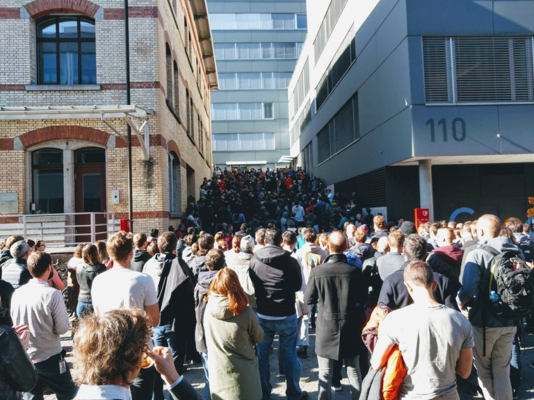 People gather next to the Google office to attend the Google Walkout in Zurich, Switzerland November 1, 2018 in this picture obtained from social media. Twitter @GOOGLEWALKOUT & Twitter @TEDONPRIVACY/Handout via REUTERS THIS IMAGE HAS BEEN SUPPLIED BY A THIRD PARTY. MANDATORY CREDIT. NO RESALES. NO ARCHIVES.