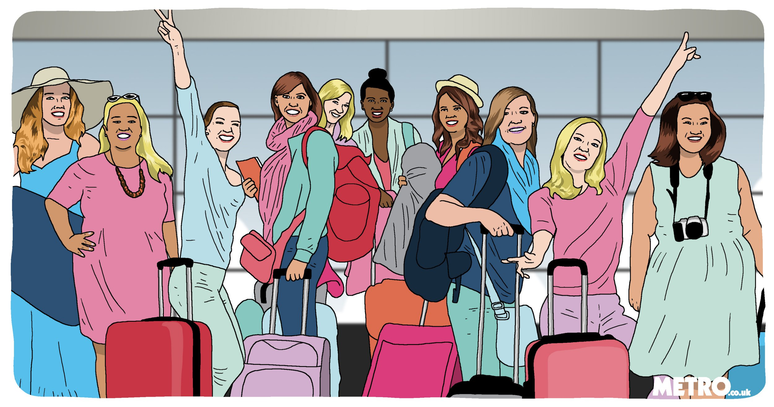Metro Illustrations Metro Illustration How to survive a girl's holiday Dave Anderson for Metro.co.uk