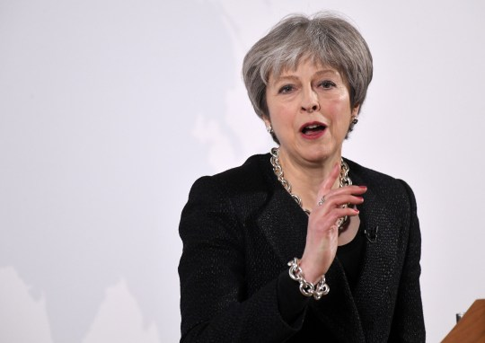 Mandatory Credit: Photo by James Gourley/REX/Shutterstock (9446896bf) Theresa May Prime Minister Theresa May speech on UK's future economic partnership with the EU, London, UK - 02 Mar 2018