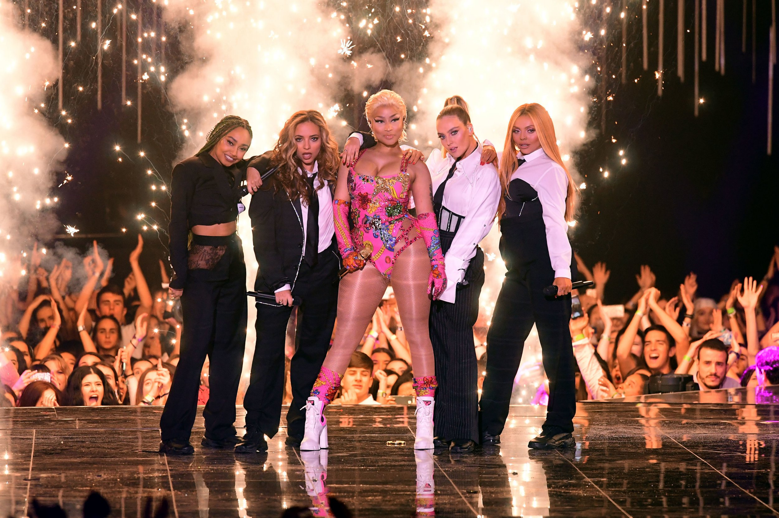 Perrie Edwards rests her head on Nicki Minaj's 'heavenly' bum as Little Mix slay MTV EMA opening performance