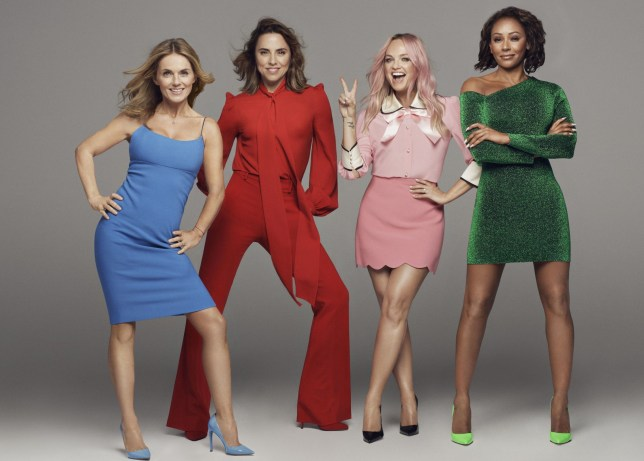 Undated handout photo issued by Dawbell of (left to right) Geri Horner, Melanie Chisholm, Emma Bunton and Melanie Brown. The Spice Girls will kick off a six-date UK stadium tour in June next year in Manchester as a four-piece without Victoria Beckham. PRESS ASSOCIATION Photo. Issue date: Monday November 5, 2018. See PA story SHOWBIZ Spice. Photo credit should read: Dawbell/PA Wire NOTE TO EDITORS: This handout photo may only be used in for editorial reporting purposes for the contemporaneous illustration of events, things or the people in the image or facts mentioned in the caption. Reuse of the picture may require further permission from the copyright holder.