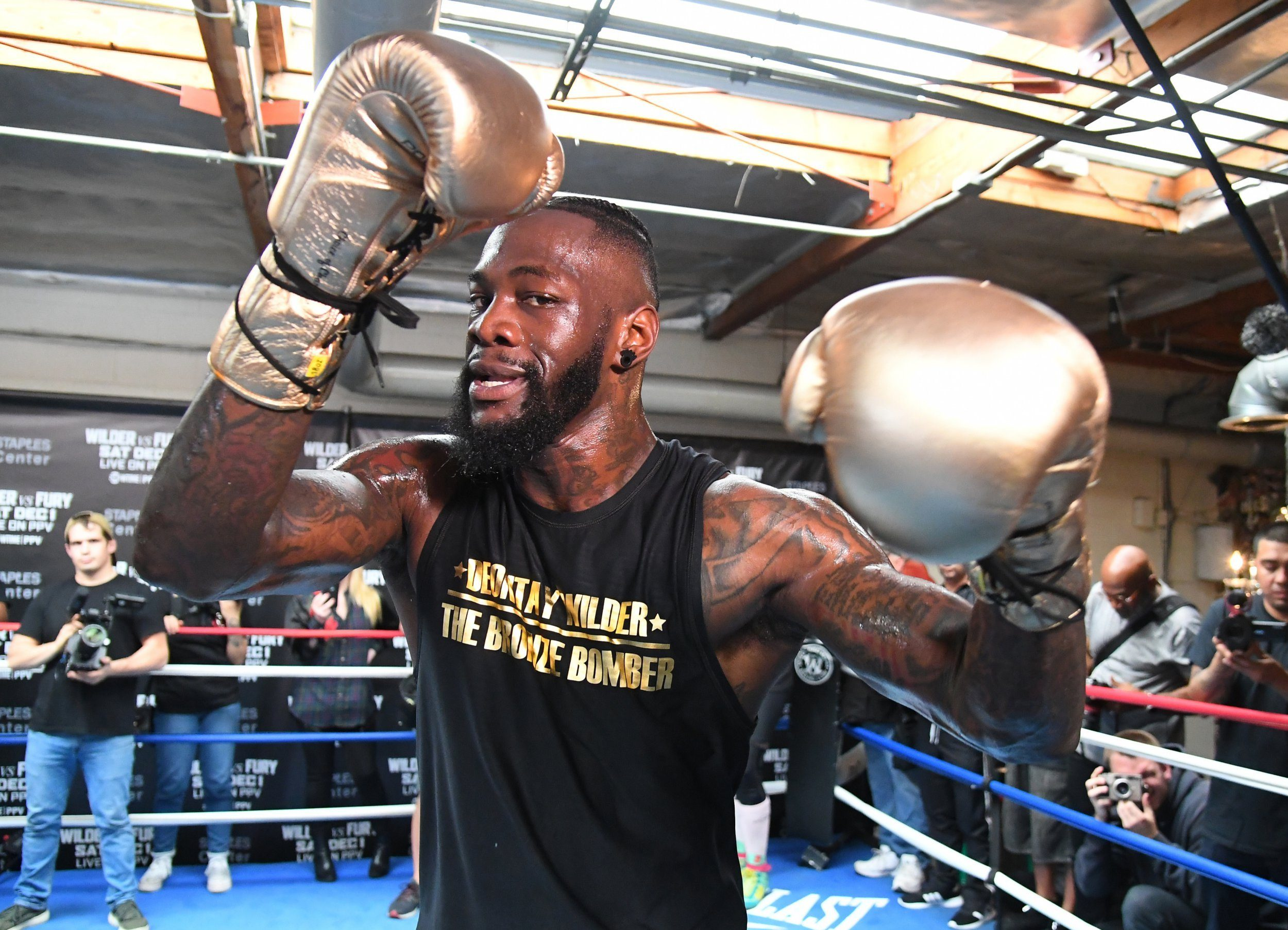 SANTA MONICA, CALIFORNIA - NOVEMBER 05: WBC Heavyweight Champion Deontay Wilder works out for the media at Churchill Boxing Club on November 05, 2018 in Santa Monica, California. (Photo by Jayne Kamin-Oncea/Getty Images)
