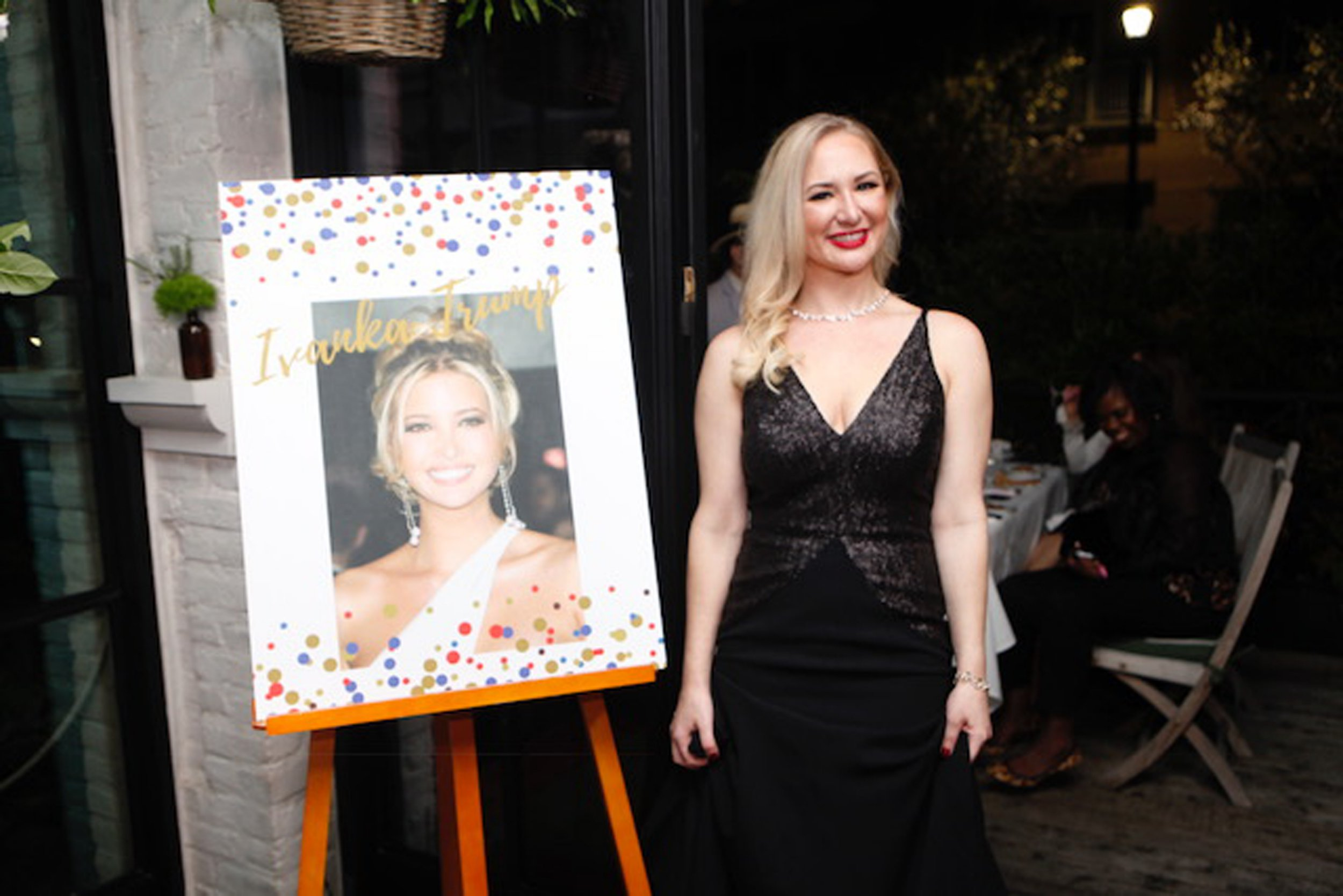 PICS BY SARAH SCHMIDT / CATERS NEWS - (PICTURED: Sarah being unveiled at the event last Thursday) - A technology analyst has spent over USD26,000 (20kGBP) on surgeries to look like Ivanka Trump after an embarrassing Shrek bikini snap. Sarah Schmidt, 34, from Houston in Texas, USA, longed for plastic surgery from the age of ten, initially idolising the models in Playboy magazine before her tastes matured. She chose to go under the knife two-months-ago after seeing an unflattering bikini picture where she hated her curvy figure and felt like Shrek. Admiring the beauty the Presidents daughter, she chose to go under the knife to resemble Ivanka facially and to refine her body. - SEE CATERS COPY