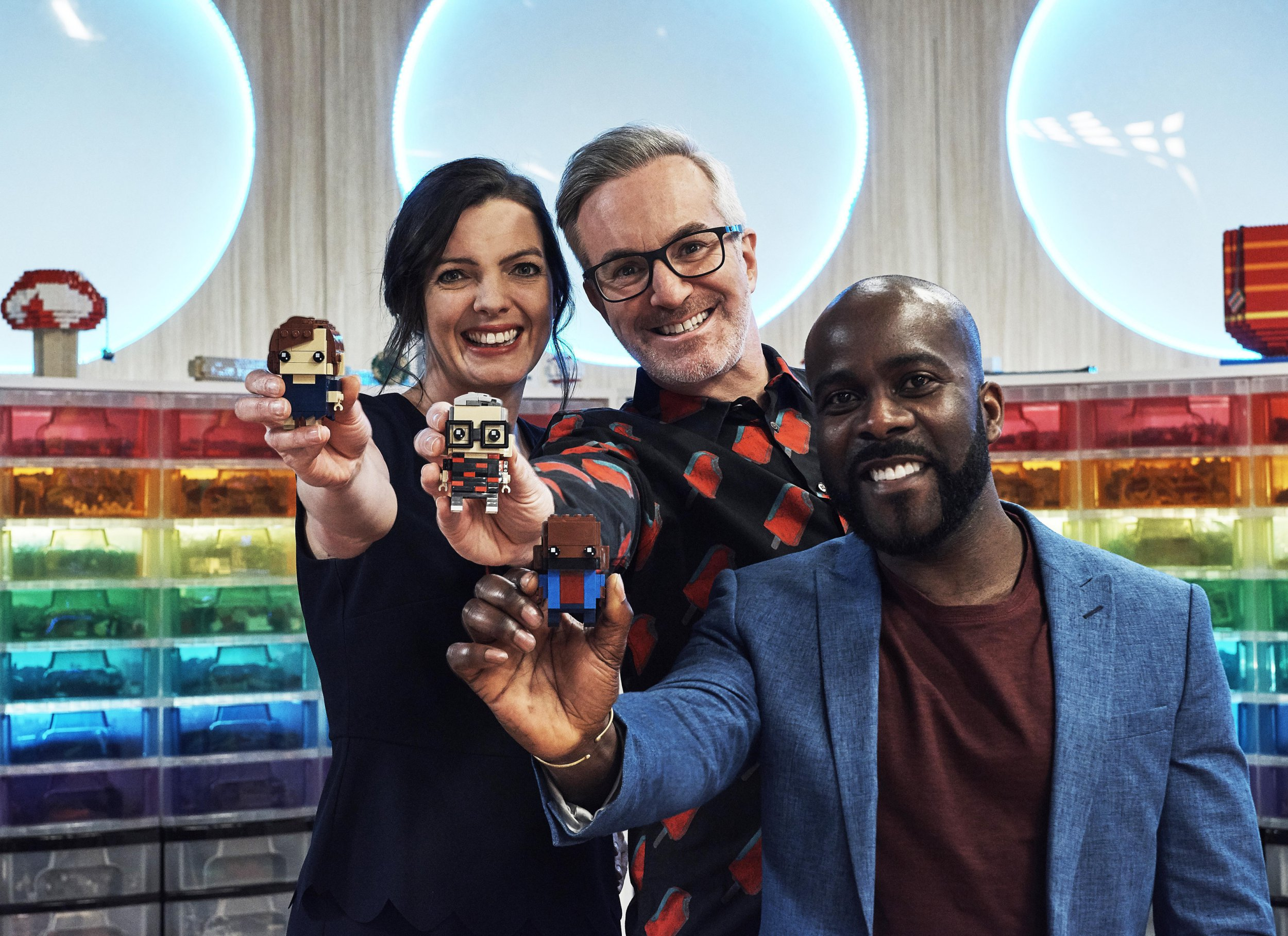 Television programme, 'Lego Masters'. Fran Scott, Matthew Ashton and Melvin Odoom (Picture: Channel 4)