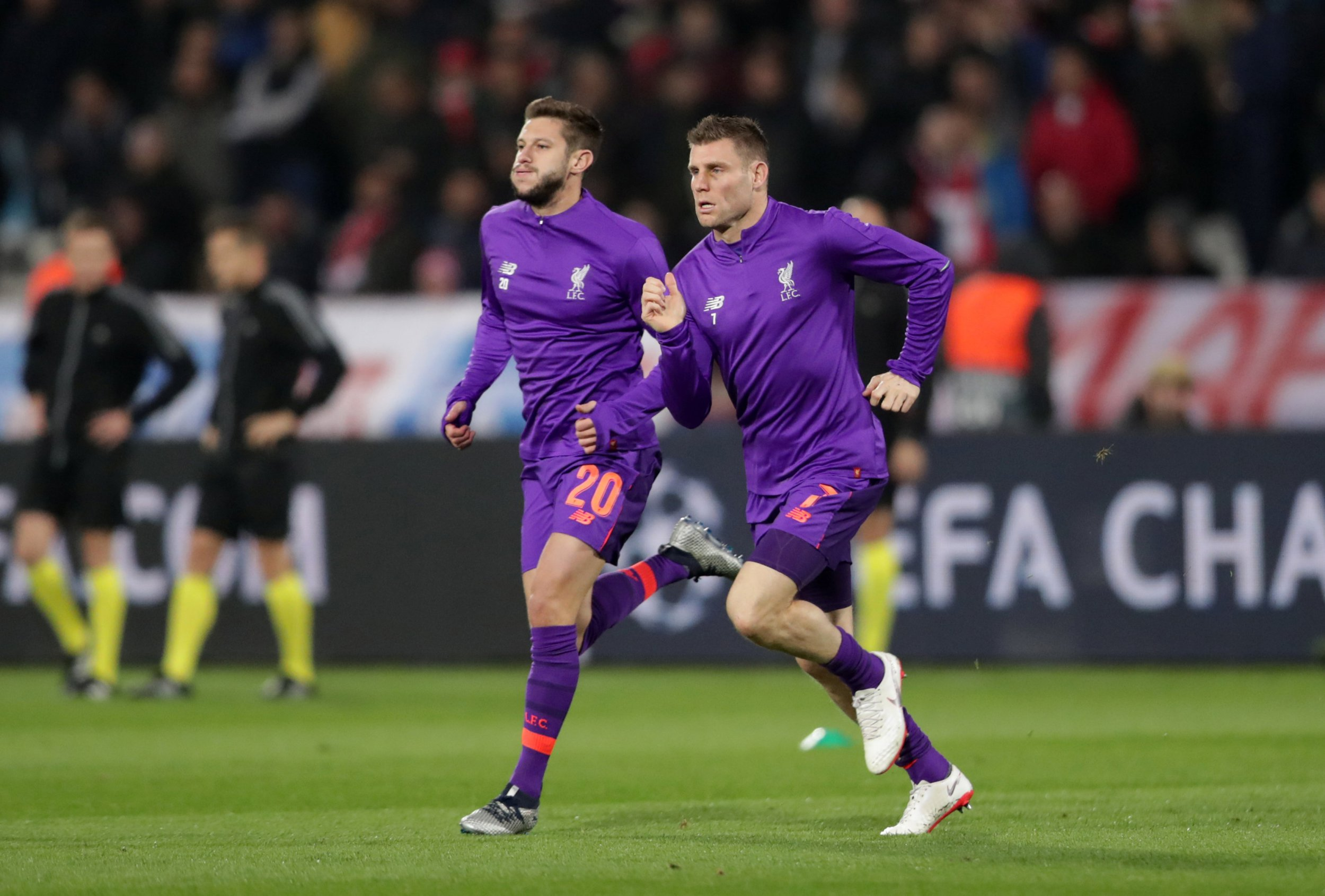 Soccer Football - Champions League - Group Stage - Group C - Crvena Zvezda v Liverpool - Rajko Mitic Stadium, Belgrade, Serbia - November 6, 2018 Liverpool's Adam Lallana and James Milner during the warm up before the match REUTERS/Marko Djurica