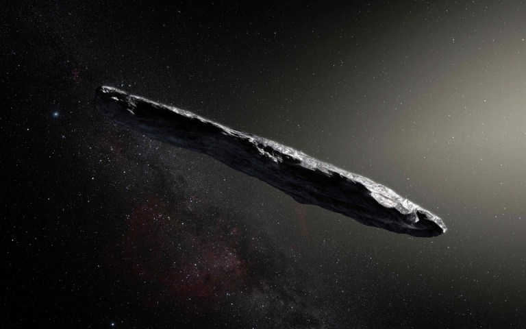 "This handout image of artist's impression released by the European Southern Observatory on November 20, 2017 shows the first interstellar asteroid: Oumuamua. - A scientific paper led by two researchers at Harvard University made a splash this week by claiming that a cigar-shaped rock zooming through our solar system may have been sent by aliens. The researchers noted in pre-print of the article that it was an ""exotic scenario,"" but that ""Oumuamua may be a fully operational probe sent intentionally to Earth vicinity by an alien civilization."" (Photo by M. Kornmesser / European Southern Observatory / AFP) / RESTRICTED TO EDITORIAL USE - MANDATORY CREDIT ""AFP PHOTO / EUROPEAN SOUTHERN OBSERVATORY / M. Kornmesser"" - NO MARKETING NO ADVERTISING CAMPAIGNS - DISTRIBUTED AS A SERVICE TO CLIENTSM. KORNMESSER/AFP/Getty Images"