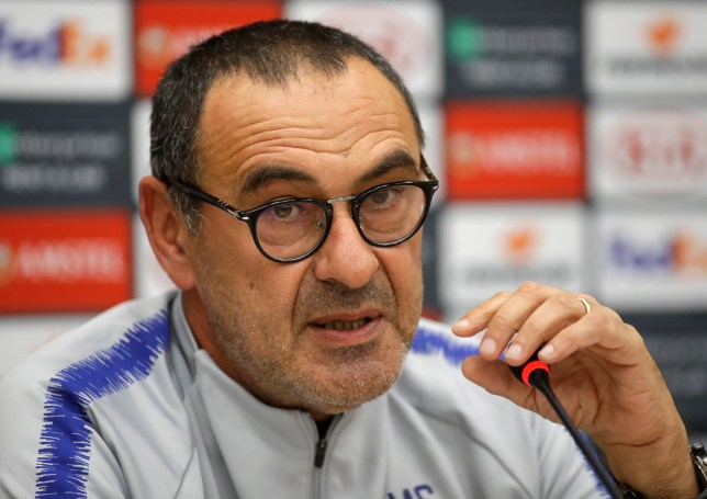 Chelsea head coach Maurizio Sarri speaks during a news conference in Minsk, Belarus, on Wednesday, Nov. 7, 2018. Chelsea will play against Bate Borisov during the Europa League group L soccer match on Thursday, Nov. 8, 2018. (AP Photo/Sergei Grits)