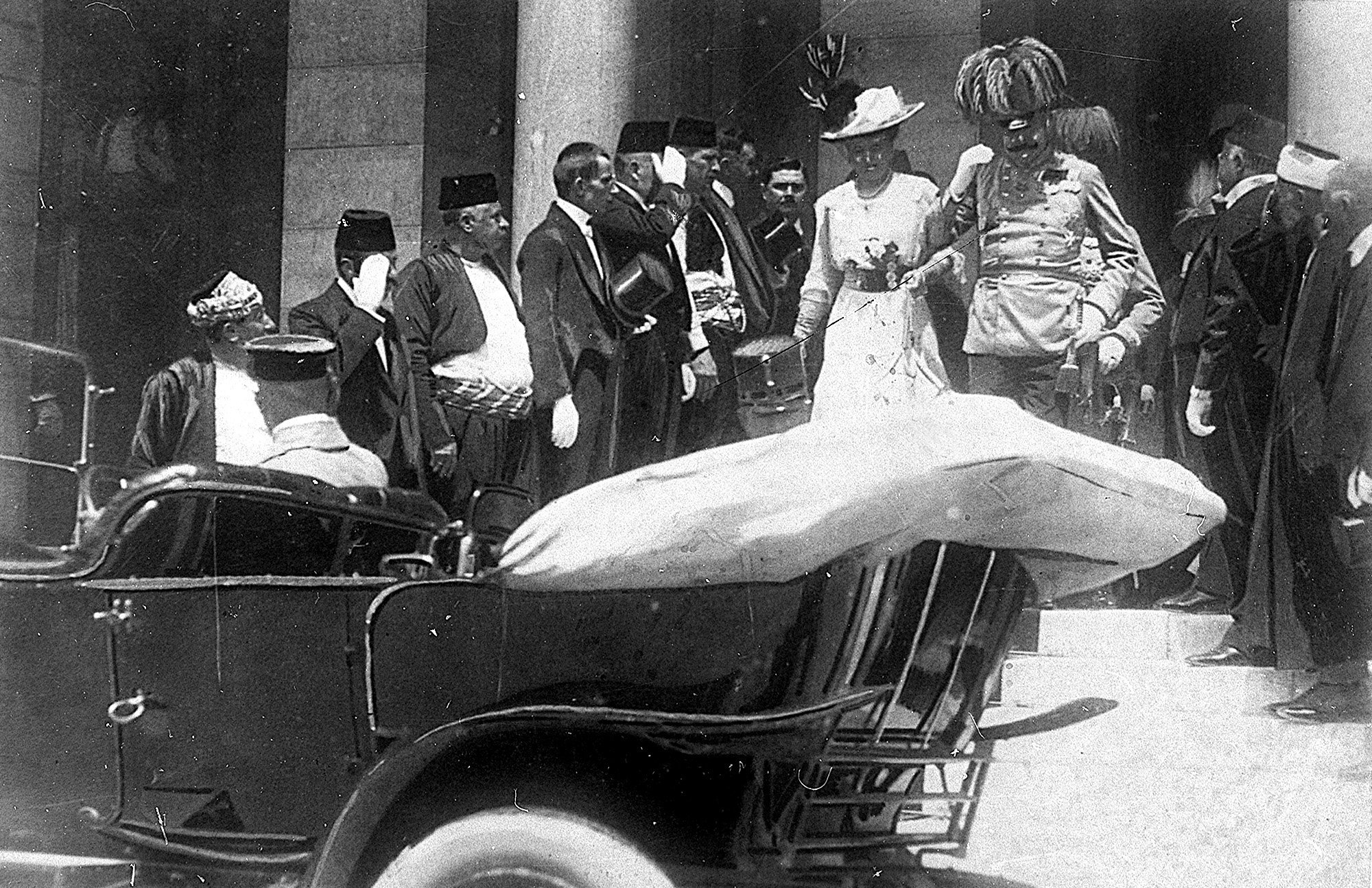 ONE OF ONE HUNDRED PHOTOS WORLD WAR ONE CENTENARY TIMELINE-In this June 28, 1914 file photo, the Archduke of Austria Franz Ferdinand, center right, and his wife Sophie, center left, walk to their a car in Sarajevo This photo was taken minutes before the assassination of the Archduke and his wife, an event which set off a chain reaction of events which would eventually lead to World War One (AP Photo, File)
