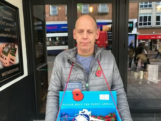 Poppy seller .Pete West, 47, who was forced to stand in the rain - after a Wetherspoons pub manager told him he couldn't use the pub's concrete canopy.See SWNS story SWPLpoppy.Pub chain Wetherspoons has apologised after staff forced a poppy seller who was seeking shelter outside one of their pubs - to stand out in the rain.Pete West, 47, was selling the Royal British Legion's decorative poppies to passers-by as the heavens opened.To stay dry, Pete stood under a concrete canopy which forms part of The Chevalier pub in Exeter, Devon.But the manager of the pub came out and told Pete he wouldn't be able to stand there as they didn't have a license.