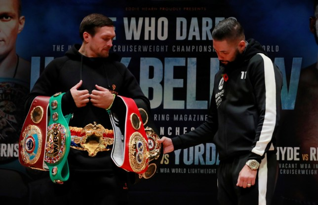 Boxing - Oleksandr Usyk & Tony Bellew Press Conference - The Stoller Hall, Manchester, Britain - November 8, 2018 Tony Bellew with Oleksandr Usyk during the press conference Action Images via Reuters/Andrew Couldridge