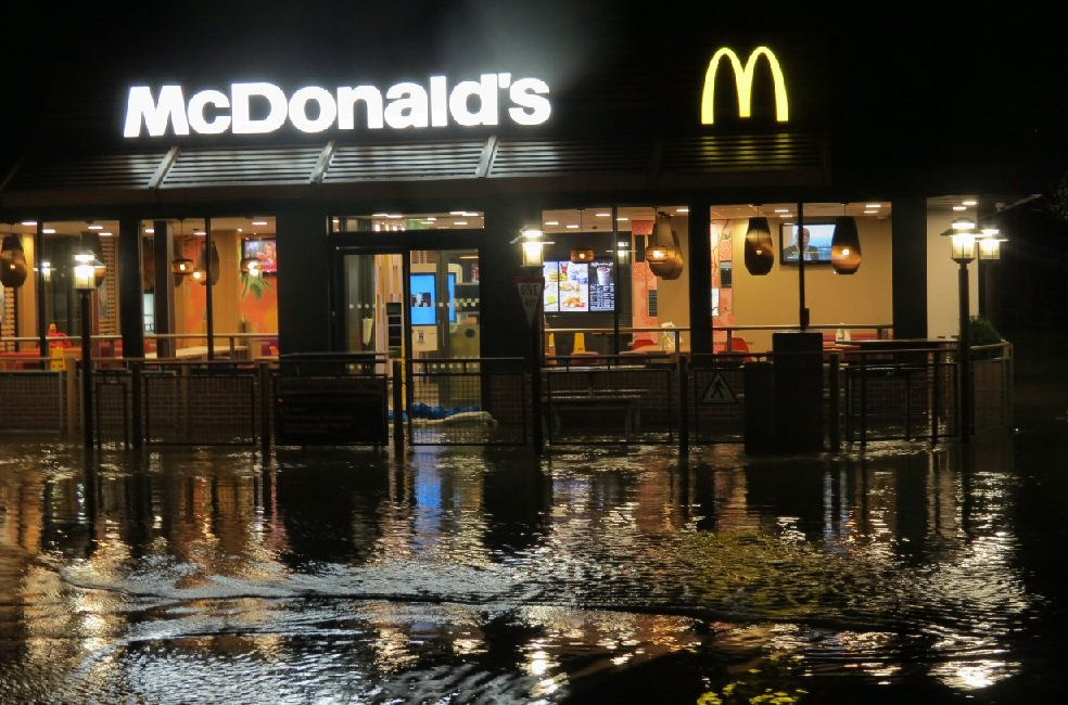 Pictures show flooding near McDonald's in Merlin's Bridge, near Haverfordwest, Pembrokeshire CREDIT Wales Online/Vickie Pearson