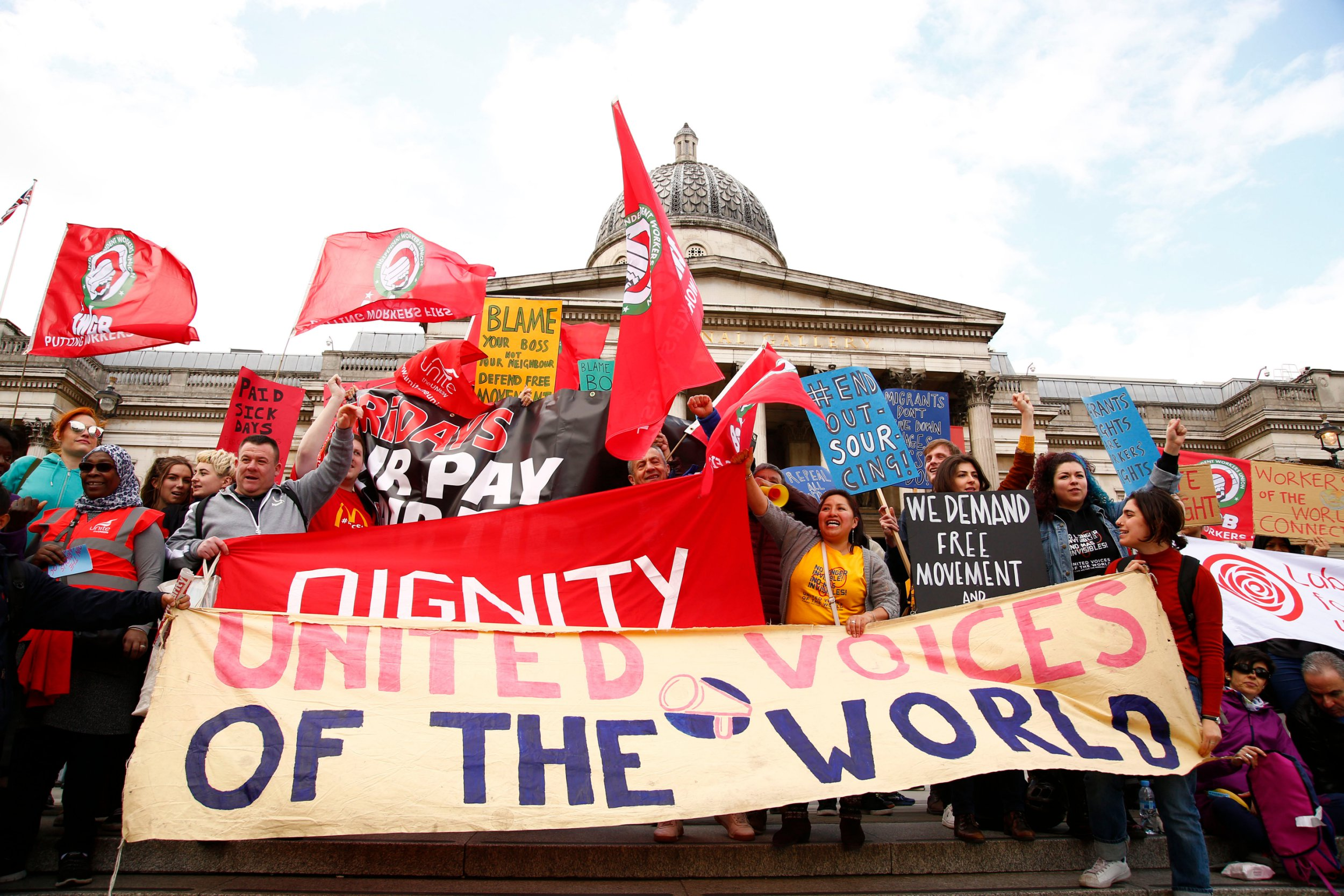 Mandatory Credit: Photo by Natasha Quarmby/REX/Shutterstock (9655957e) A group of workers form the United Voices of The World union, including, McStrike who were having a National Strike today, as well as Picture House workers, The Bakers Union and various cleaners, marched for several hours around central London shaming publicly the companies who refuse to pay their workers equal money and rights. The demo was noisy and there was a largr police presence. May Day, London, UK - 01 May 2018