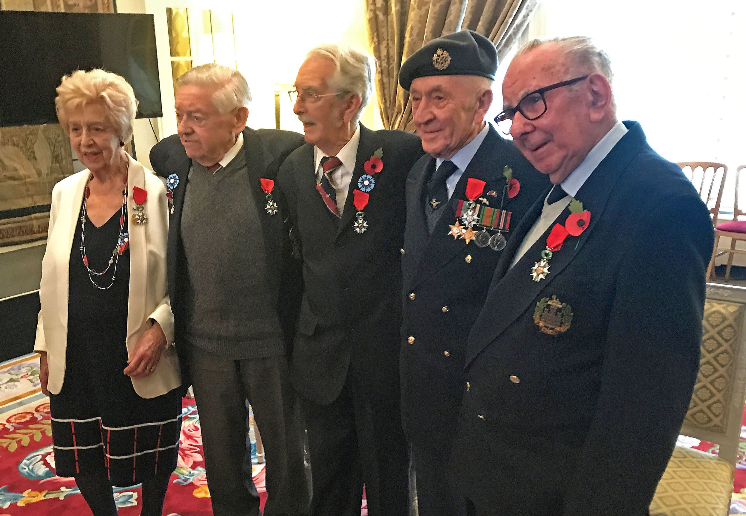 (left to right) Ruth Bourne, Alfred Hicks, Albert Avann, Joseph Randall and Thomas Stonehouse after being presented with Legion d'Honneur Medal, for their role in liberating the country during the Second World War, at the French Ambassador's residence in central London. PRESS ASSOCIATION Photo. Picture date: Friday November 9, 2018. See PA story DEFENCE Legion. Photo credit should read: Rick Goodman/PA Wire