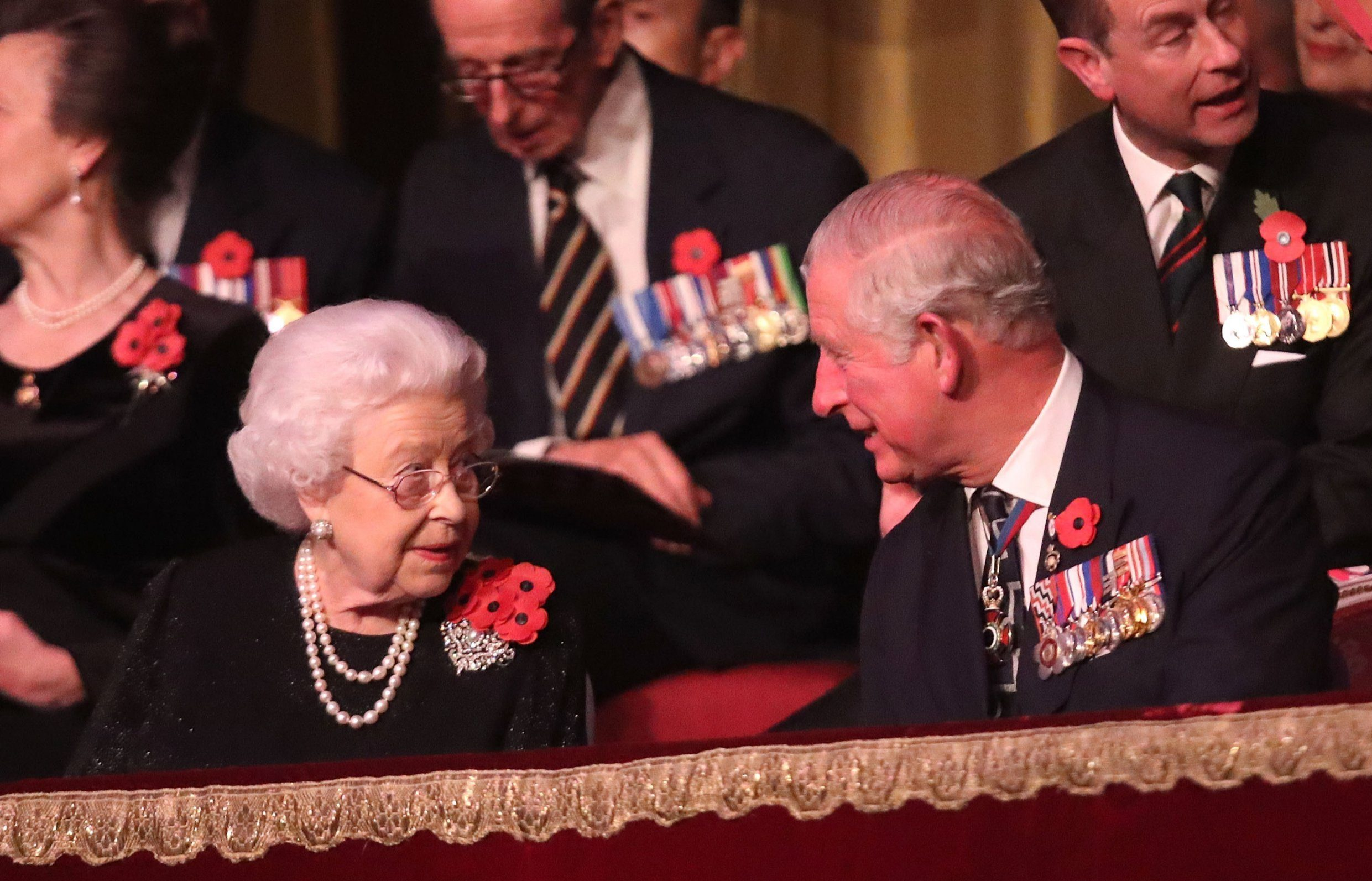 LONDON, ENGLAND - NOVEMBER 10: Queen Elizabeth II and Prince Charles, Prince of Wales attend the Royal British Legion Festival of Remembrance at the Royal Albert Hall on November 10, 2018 in London, England. The Queen and members of the Royal Family are attending the annual Festival of Remembrance to commemorate all those who have lost their lives in conflicts and will mark 100 years since the end of the First World War. (Photo by Chris Jackson/Getty Images)