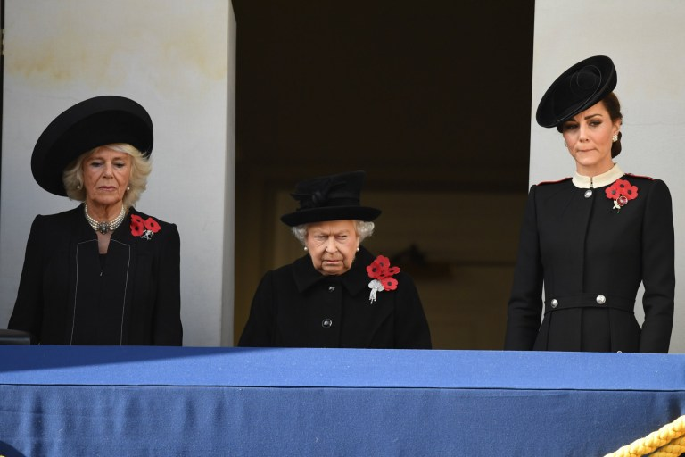 Members of The Royal Family attend the Remembrance Sunday and the Centenary of the Armistice Service at the Cenotaph, Whitehall, London, UK, on the 11th November 2018. Picture by James Whatling