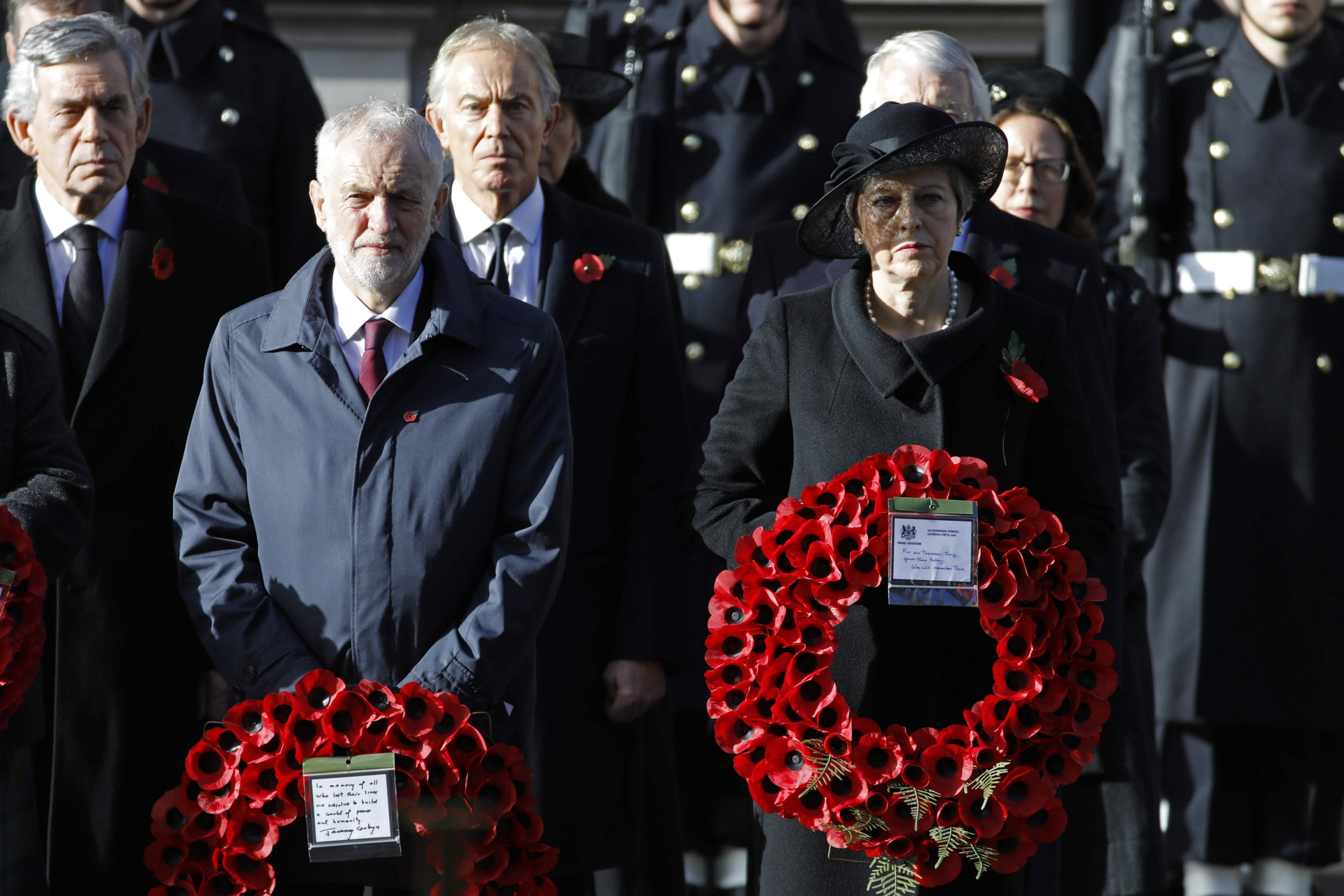 Jeremy Corbyn criticised for small poppy pin and 'hoodie' at Armistice Day service