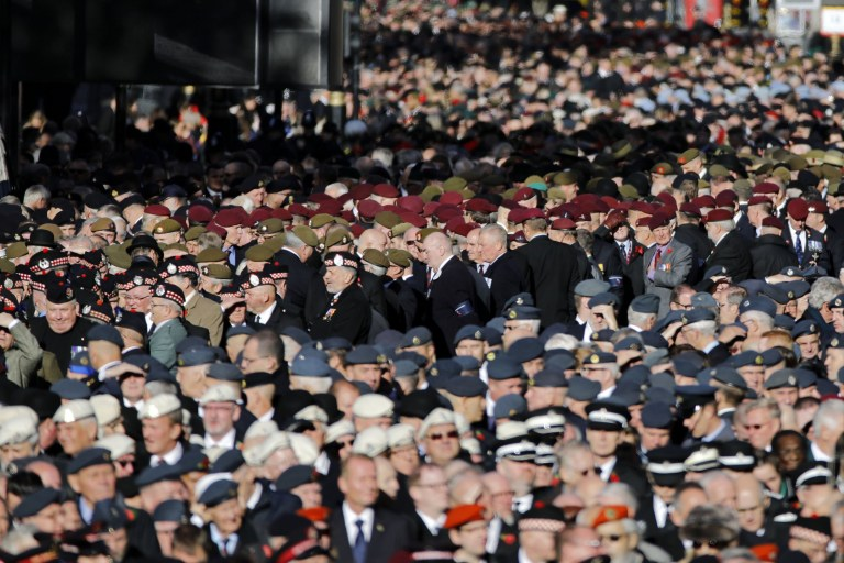 Veterans gather together at the start of the Royal British Legion's Veterans' March past after the Remembrance Sunday ceremony at the Cenotaph on Whitehall in central London, on November 11, 2018. - On the 100th anniversary of the World War I armistice, the day's events mark the final First World War Centenary commemoration events hosted by the UK Government. Services are held annually across Commonwealth countries during Remembrance Day to commemorate servicemen and women who have fallen in the line of duty since WWI. (Photo by Tolga AKMEN / AFP)TOLGA AKMEN/AFP/Getty Images