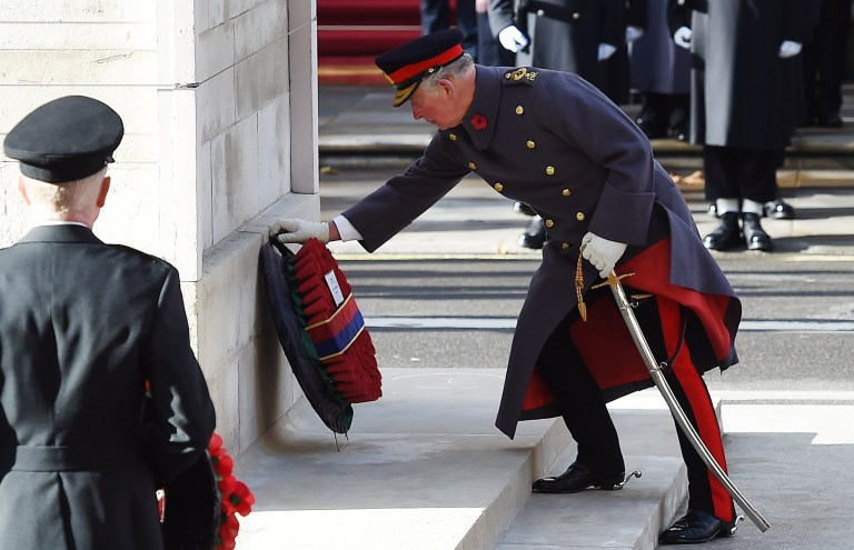 epa07158183 British Charles, Prince of Wales lays a wreath at the Cenotaph during the Remembrance Sunday and Centenary of the Armistice service on Whitehall in London, Britain, 11 November 2018. The 11 November 2018 marks the 100th anniversary of the First World War Armistice with ceremonies taking place across the world to commemorate the occasion. EPA/ANDY RAIN