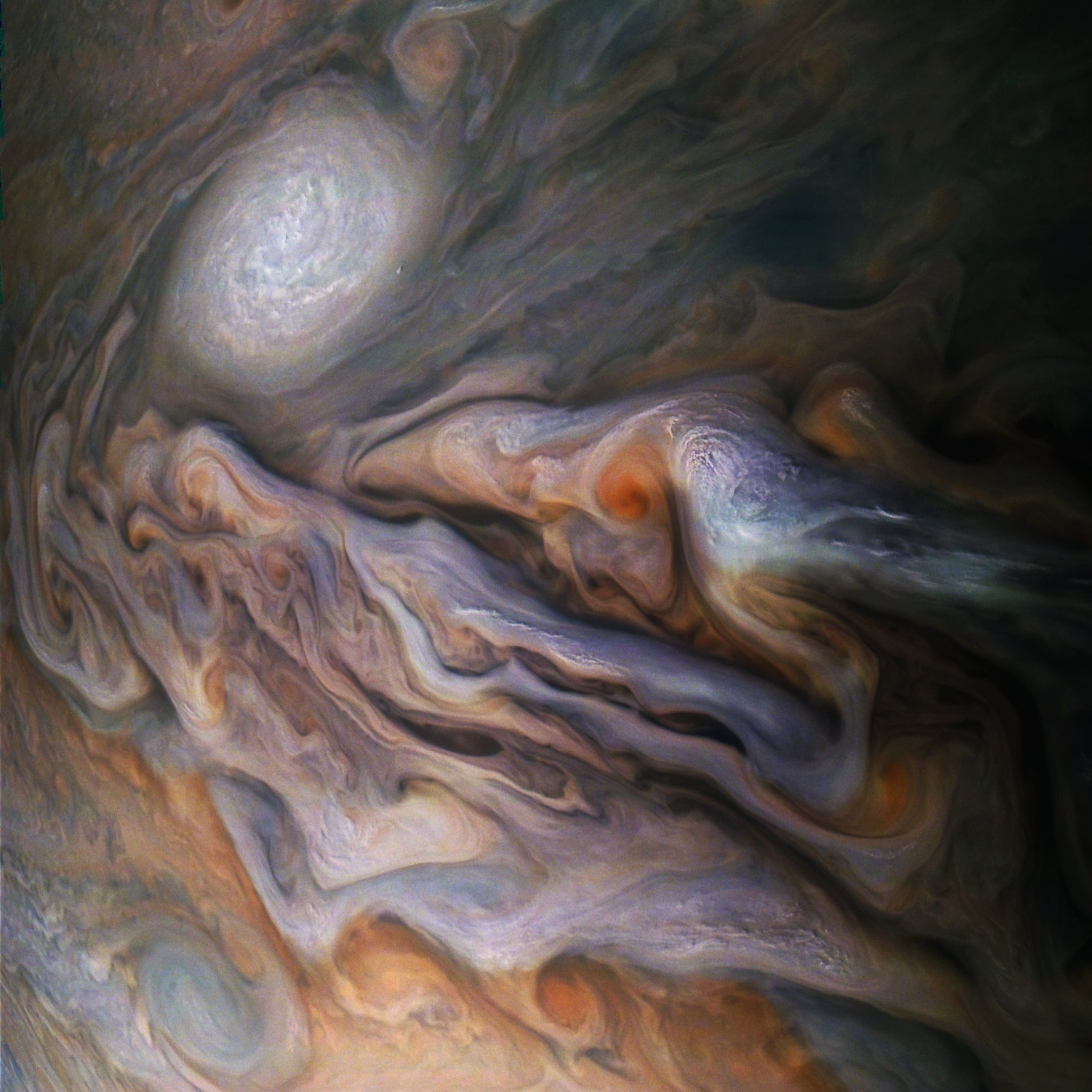 A multitude of magnificent, swirling clouds in Jupiter's dynamic North North Temperate Belt is captured in this image from NASA's Juno spacecraft. Appearing in the scene are several bright-white ???pop-up??? clouds as well as an anticyclonic storm, known as a white oval. This color-enhanced image was taken at 1:58 p.m. PDT on Oct. 29, 2018 (4:58 p.m. EDT) as the spacecraft performed its 16th close flyby of Jupiter. At the time, Juno was about 4,400 miles (7,000 kilometers) from the planet's cloud tops, at a latitude of approximately 40 degrees north. Citizen scientists Gerald Eichst??dt and Se??n Doran created this image using data from the spacecraft's JunoCam imager. JunoCam's raw images are available for the public to peruse and to process into image products at: http://missionjuno.swri.edu/junocam. More information about Juno is at: http://www.nasa.gov/juno and http://missionjuno.swri.edu. Image Credits: NASA/JPL-Caltech/SwRI/MSSS/Gerald Eichst??dt/Se??n Doran