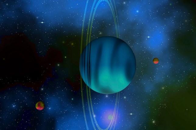 Vertical rings surround the planet of Uranus.