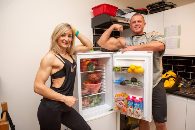 A stocked fridge that will only last 2 days, Ania Golebiowska 28 and Jakub Loza 32, who have both become British bodybuilding champions and have represented GB at the world championships. weston super mare, See SWNS story SWBRmuscles; A couple have shared their amazing transformation from a regular-sized duo into into bodybuilding champions representing GB at the word championships ??? which took just a few months. Anna Golebiowska, 28, and boyfriend Jakub Loza, 32, used to work out a couple of times a week but 10 months ago they decided to become bodybuilders. Now the muscly pair have taken the bodybuilding world by storm, becoming British champions and representing GB at the world championships. Anna and Jakub have to eat every three hours throughout the day to maintain their physique.