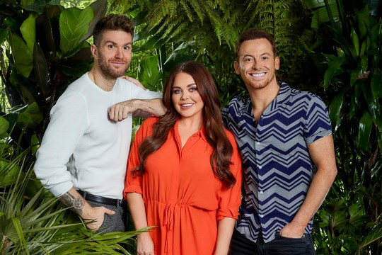 This image is strictly embargoed until 00.01 Tuesday 13th November 2018From ITV StudiosI'm A Celebrity... Extra Camp: SR18 on ITV2Pictured: Joel Dommett, Scarlett Moffatt and Joe Swash.This photograph is (C) ITV Plc and can only be reproduced for editorial purposes directly in connection with the programme or event mentioned above, or ITV plc. Once made available by ITV plc Picture Desk, this photograph can be reproduced once only up until the transmission [TX] date and no reproduction fee will be charged. Any subsequent usage may incur a fee. This photograph must not be manipulated [excluding basic cropping] in a manner which alters the visual appearance of the person photographed deemed detrimental or inappropriate by ITV plc Picture Desk. This photograph must not be syndicated to any other company, publication or website, or permanently archived, without the express written permission of ITV Picture Desk. Full Terms and conditions are available on the website www.itv.com/presscentre/itvpictures/termsFor further information please contact:james.hilder@itv.com / 0207 157 3052