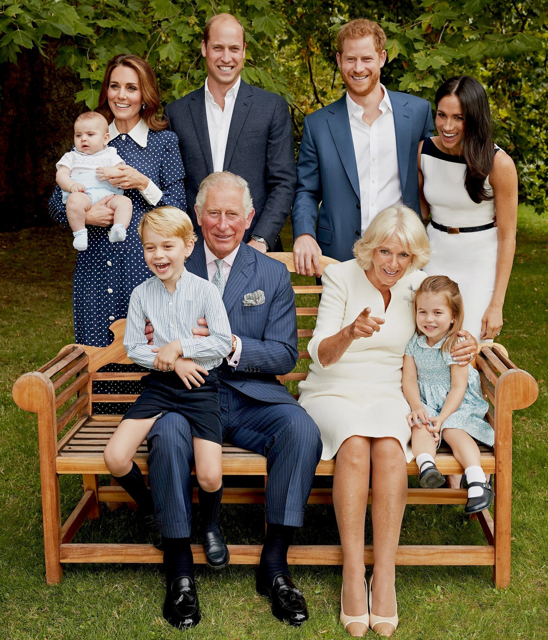 LONDON, UNITED KINGDOM - SEPTEMBER 5: (IMAGE STRICTLY EMBARGOED FOR PUBLICATION UNTIL 10pm GMT TUESDAY 13th NOVEMBER) (NO SALES. Strictly for editorial use only and available until December 12th 2018) In this handout image provided by Clarence House, HRH Prince Charles Prince of Wales poses for an official portrait to mark his 70th Birthday in the gardens of Clarence House, with Their Royal Highnesses Camilla Duchess of Cornwall, Prince Willliam Duke of Cambridge, Catherine Duchess of Cambridge, Prince George, Princess Charlotte, Prince Louis, Prince Harry Duke of Sussex and Meghan Duchess of Sussex, on September 5, 2018 in London, England. (Photo by Chris Jackson / Clarence House via Getty Images)