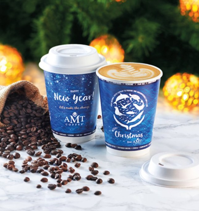 AMT Coffee compostable coffee cups.